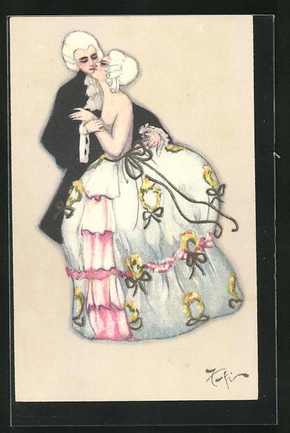 AK Liebespaar mit Perücken in altertümlicher Kleidung, Art Deco