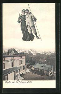 AK Interlaken, Fliegende Menschen über dem Hotel Schynige Platte