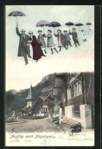 AK Meiringen, Fliegende Menschen über dem Ort