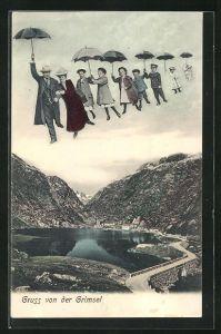 AK Grimsel, Fliegende Menschen über dem Ort