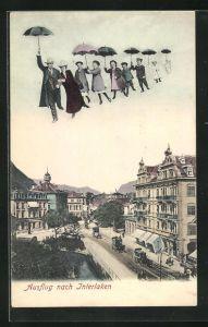 AK Interlaken, Fliegende Menschen über dem Ort