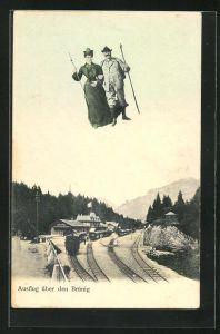 AK Brünig, Fliegende Menschen über dem Bahnhof