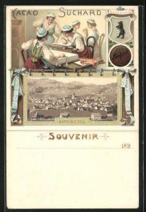 Lithographie Appenzell, Ortsansicht, Frauen bei der Handarbeit, Reklame für Kakao Suchard, Wappen