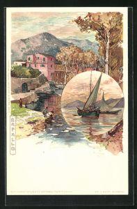 Künstler-AK Manuel Wielandt: Rapallo, Uferpartie, Segelboote auf dem See