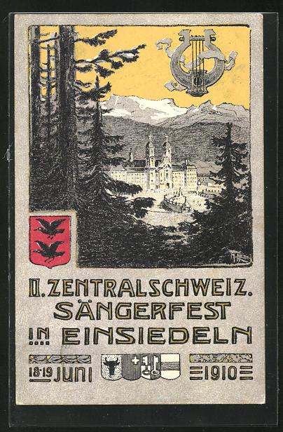 AK Einsiedeln, II. Zentralschweiz. Sängerfest 1910, Ortsansicht aus der Vogelschau, Wappen