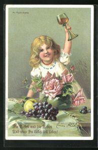 Duft-AK Mädchen hebt das Weinglas in die Höhe, Weintrauben und Rosen auf dem Tisch