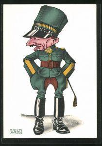 Künstler-AK sign. Welti: Schweizer Soldat mit Reiterstiefeln