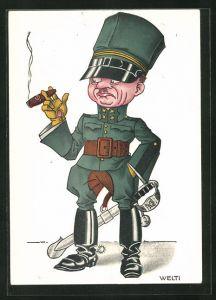 Künstler-AK sign. Welti: Schweizer Soldat mit Reiterstiefeln und Zigarre