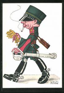 Künstler-AK sign. Welti: Schweizer Soldat mit Reiterstiefeln, Säbel und Zigarette