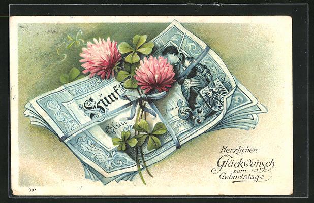 Präge-AK Geldbündel und blühender Klee, Glückwunsch zum Geburtstag