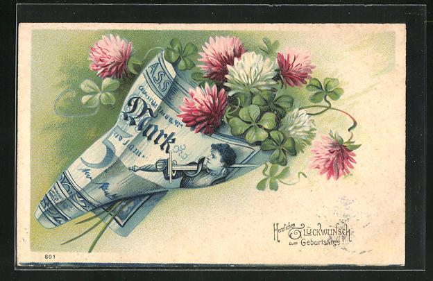 Präge-AK Blühender Klee ist in einen Geldschein eingewickelt, Herzlichen Glückwunsch zum Geburtstag