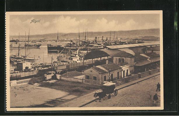 AK Alger, Teilansicht mit Hafen