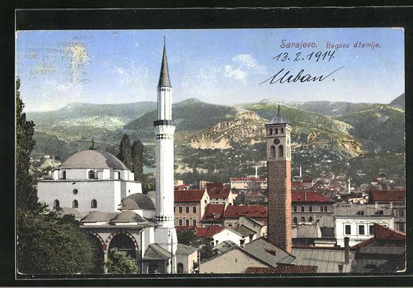AK Sarajewo, Begova dzamija, Teilansicht mit Moschee