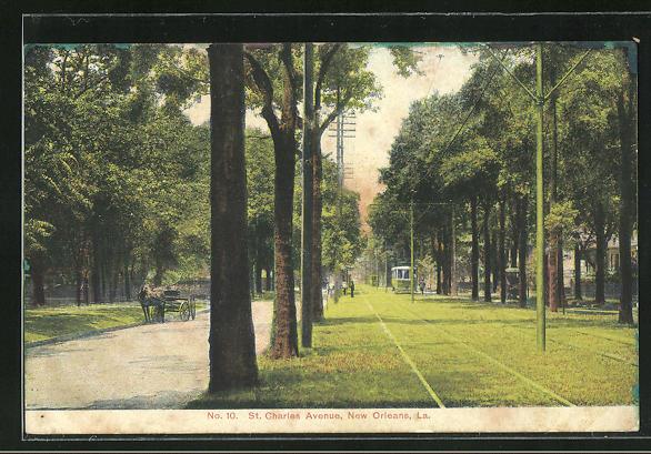AK New Orleans, St. Charles Avenue, Strassenpartie mit Strassenbahn