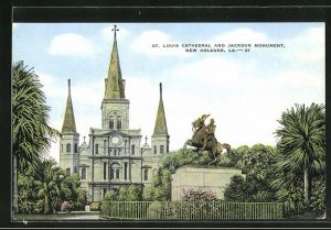 AK New Orleans, LA, St. Louis cathedral and Jackson monument