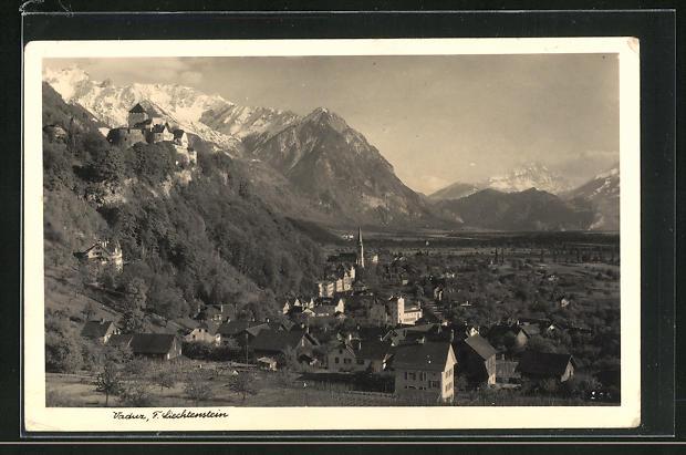 AK Vaduz, Gesamtansicht mit Schloss