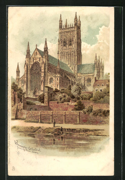 Lithographie Worchester, Cathedral from the River Severn