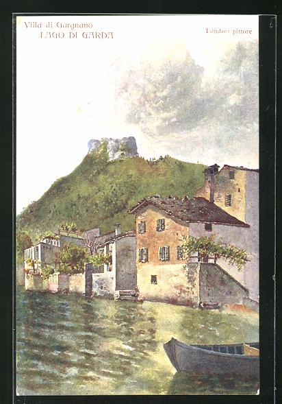 AK Villa di Gargnano, Ortspartie am Lago di Garda