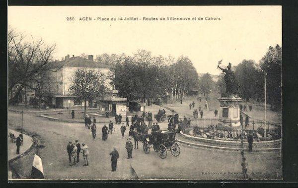 AK Agen, Place du 14 Juillet, Routes de Villeneuve et de Cahors