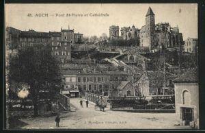 AK Auch, Pont St-Pierre et Cathedrale