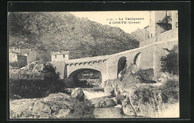 AK Corte, Le Travignano, Brückenpartie am Fluss