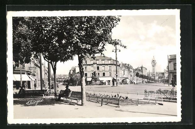 AK Limoges, Le Monument des Mobiles de 1870, La Gare des Benedictins, a gauche , l`Eglise Saint Michel