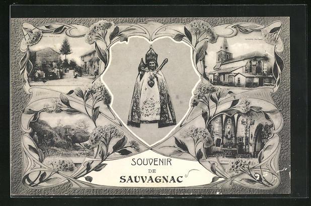 Passepartout-AK Sauvagnac, Entree de Village, Kirche, Innenansicht