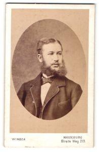 Fotografie Winsza, Magdeburg, Portrait junger Herr mit Vollbart