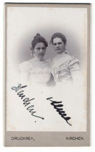 Fotografie Druckrey, Kirchen, Portrait zwei gutbürgerliche junge Frauen
