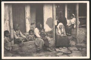 Fotografie 1.WK, Mazedonien, Ziegeuner Familie in Veles