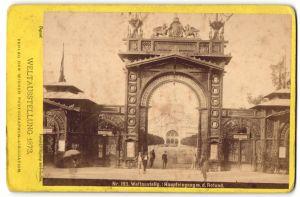 Fotografie J. Löwy, Ansicht Wien, Weltausstellung 1873, Haupteingang mit Rotunde