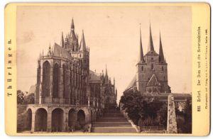 Fotografie Sophus Williams, Berlin, Ansicht Erfurt, Dom und Severinskirche