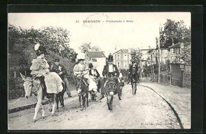 AK Robinson, Promenade à Anes, Frauen und Männer reiten auf Eseln
