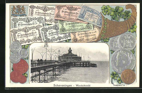 Präge-AK Scheveningen, Wandelhoofd, Füllhorn voller Geld und Seebrücke