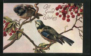 Präge-Lithographie All Good Wishes, Vögel, Finken