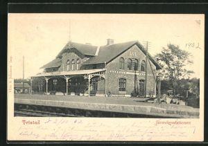 AK Fristad, Järnvägsstationen, Bahnhof mit Bahnsteig