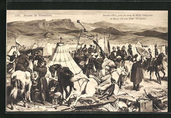 Künstler-AK Bataille d`Isly, prise du camp du fils de l`Empeurer du Maroc 1844