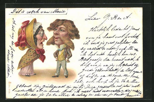 Lithographie Altes Ehepaar mit hässlicher Frau, Karikatur