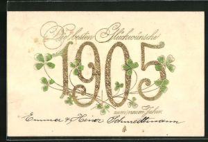 Präge-AK Goldene Jahreszahl 1905 mit Kleeblättern