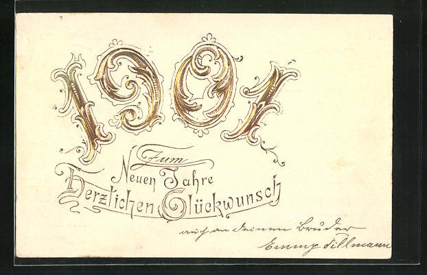 Präge-AK Goldene Jahreszahl in Ornamentschrift