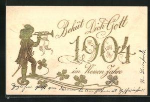 Präge-AK Goldene Jahreszahl 1904 mit dem Trompeter von Säckingen
