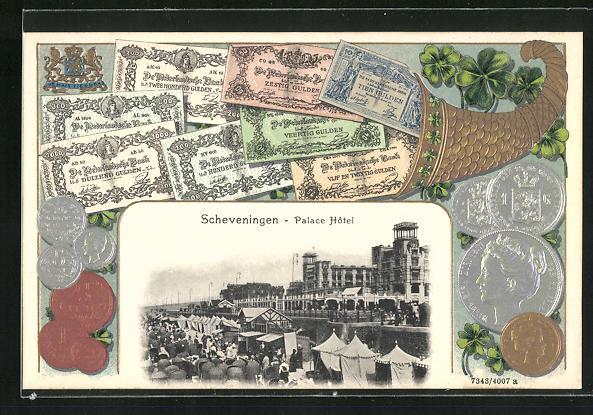 Passepartout-AK Scheveningen, Palace Hotel, Münzen und Scheine, Gulden