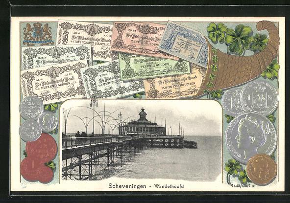 Passepartout-AK Scheveningen, Wandelhoofd, Münzen und Scheine, holländische Gulden