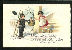 Lithographie Kleiner Schornsteinfeger bringt Korb mit Kleeblättern und Pilzen