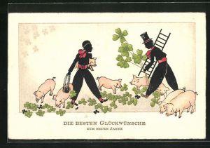 AK Schornsteinfeger mit Schweinen und Klee