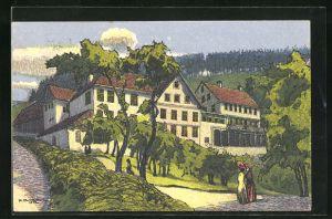 Künstler-AK sign. Emil Bollmann: Gyrenbad im Tösstal