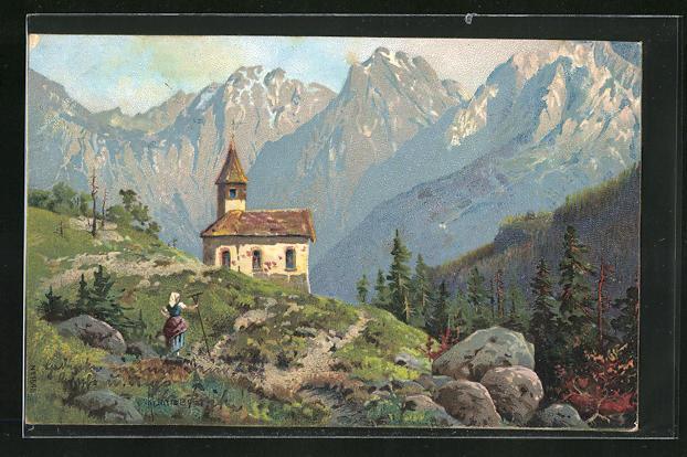 Künstler-Lithographie Robert Kämmerer: Alpenidyll mit Kirche
