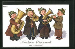 Künstler-AK P. O. Engelhard (P.O.E.): Glückwunsch zum Geburtstag!, kleines Blasorchester