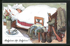 Künstler-AK P. O. Engelhard (P.O.E.): Daheim ist daheim!, Soldatenhumor