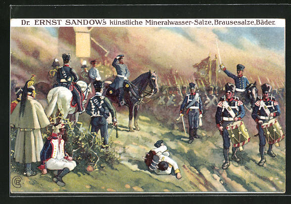 Künstler-AK Die Völkerschlacht 1813, General Bülow bei Dennewitz, Dr. Ernst Sandow`s Salze & Bäder